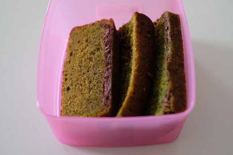 green tea nutella cake