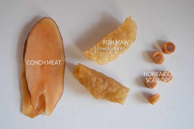 Fish Maw, Conch, and Scallop Soup in Slow-Cooker