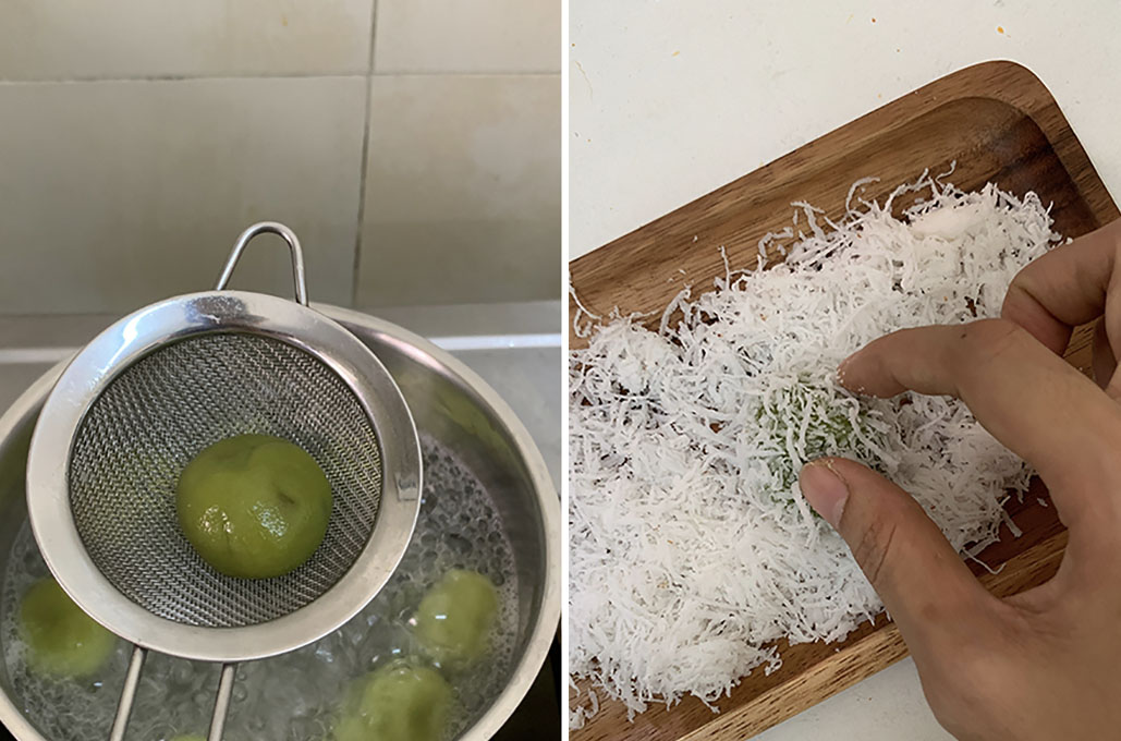 Cook and coat kuih in fresh ingredients like coconut flakes